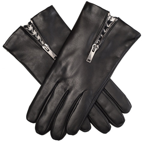 Black Leather Gloves with Houndstooth Insert