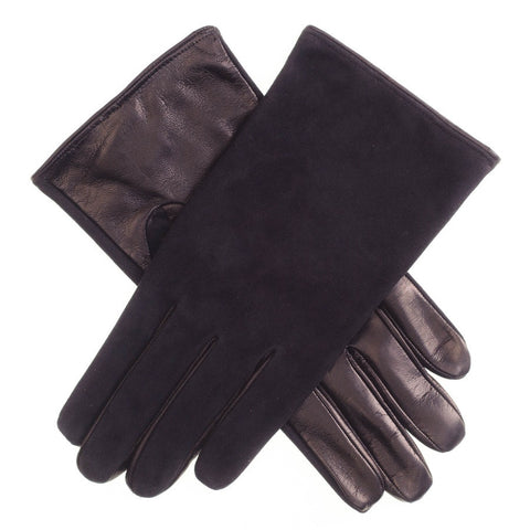 Men's Black Suede and Nappa Gloves with Silk Lining