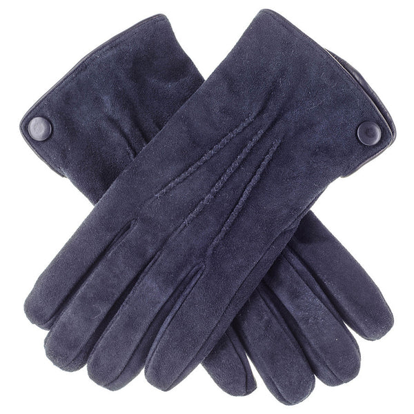 Navy Blue Suede Gloves with Cashmere Lining