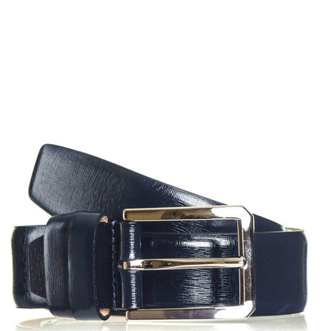 Navy Blue Textured Leather Belt