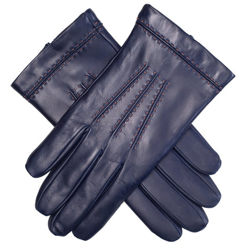 Navy Leather Gloves with Tan Stitching