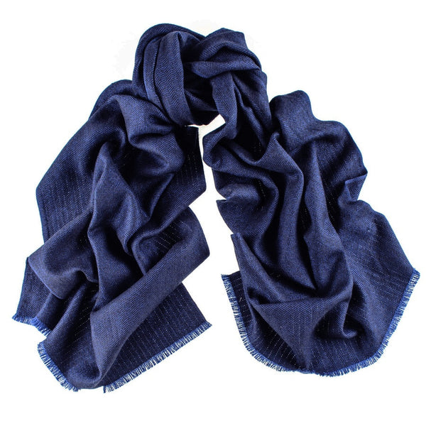 Metropolitan Herringbone Silk and Merino Wool Scarf
