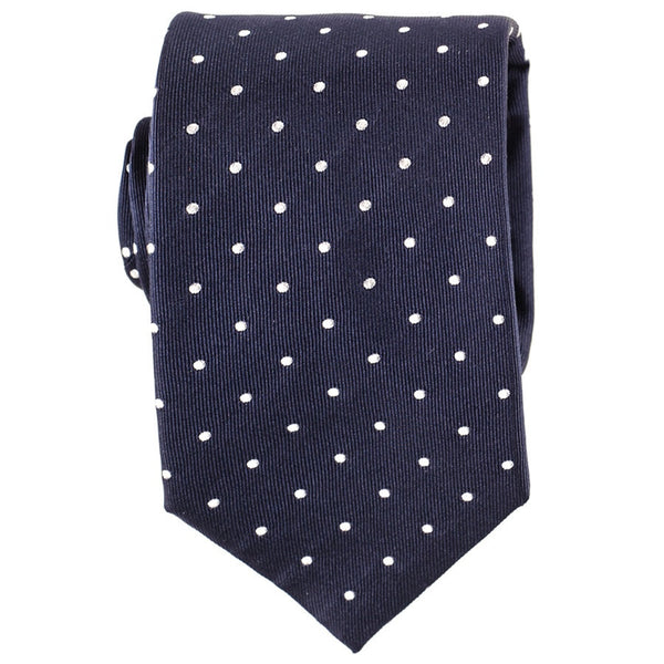 Adelfia - Navy and White Polka Dot Silk Tie