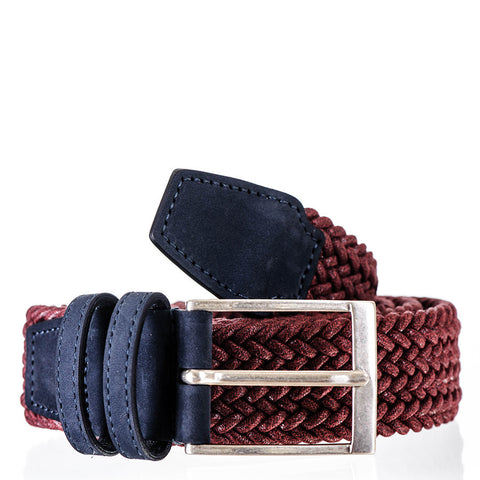 Burgundy Italian Nubuck Leather Trimmed Woven Belt