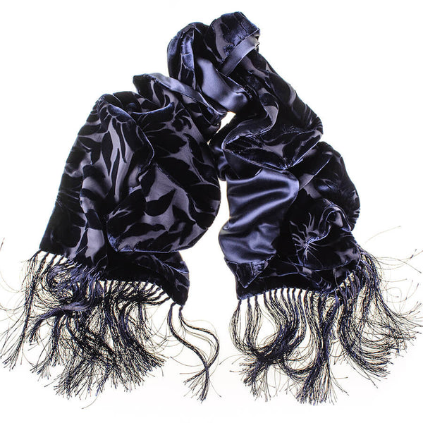 Navy Velvet Devore and Silk Satin Evening Dress Scarf