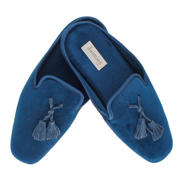Men's Navy Velvet Mule Slippers