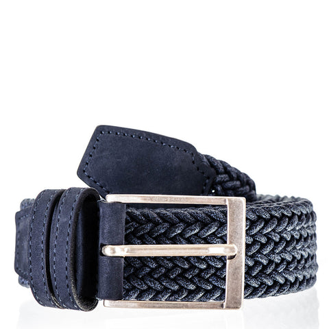 Denim Blue Italian Nubuck Leather Trimmed Woven Belt