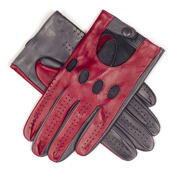 Claret and Slate Grey Italian Leather Driving Gloves