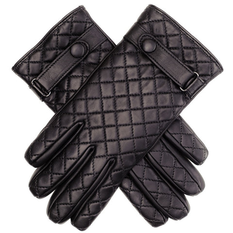 Black Leather Quilted Gloves with Strap