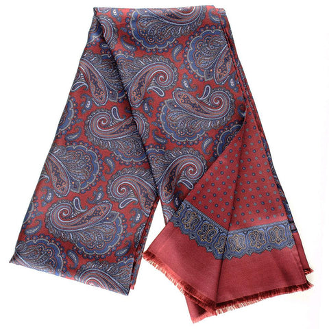 Fusaro Burgundy and Blue Paisley Italian Silk Scarf