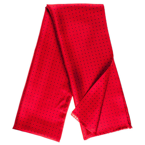 Barga Red & Navy Polka Dot Silk Scarf