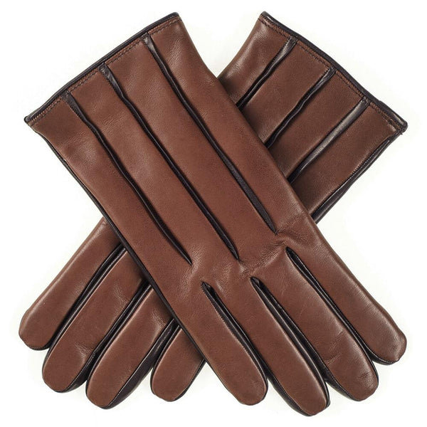 Men's Two-Tone Brown Cashmere Lined Leather Gloves