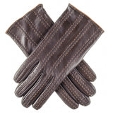 Dark Brown and Tan Italian Leather Gloves