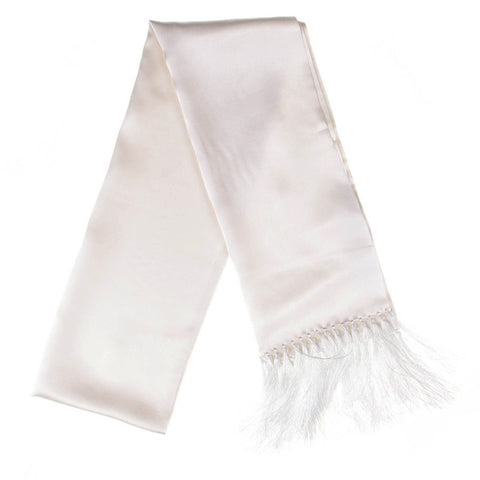 White Double Faced Silk Satin Scarf with Hand Knotted Tassels