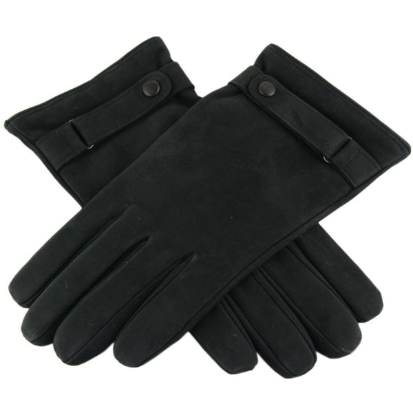 Black Nubuck Leather Gloves with Strap and Button Detail - Cashmere Lined