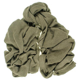 Oversized Military Green Knitted Cashmere Scarf