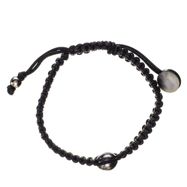 Mimas Single Tahitian Black Pearl and Macrame Bracelet
