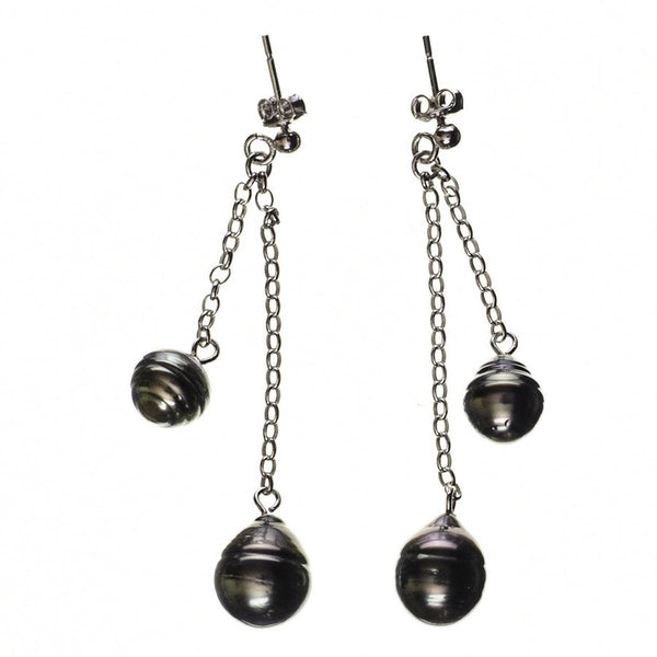 Miranda Tahitian Black Pearl Drop Earrings