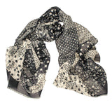Monochrome Patchwork Italian Cotton and Linen Scarf
