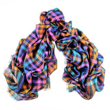 Multi Colour Oversized Check Cashmere Scarf