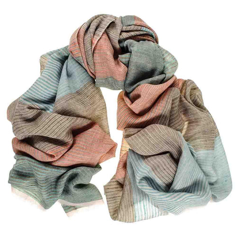 Muted Pastel Hand Woven 100% Cashmere Ring Shawl