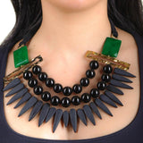 Nashira Agate, Onyx and Cashmere Necklace
