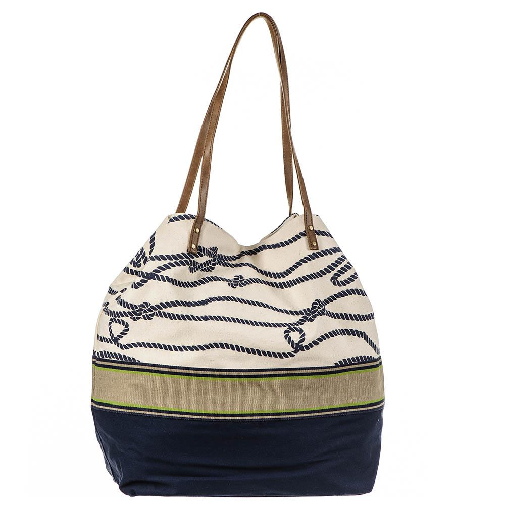 Nautical Navy and Cream Beach Bag wj3TmwES