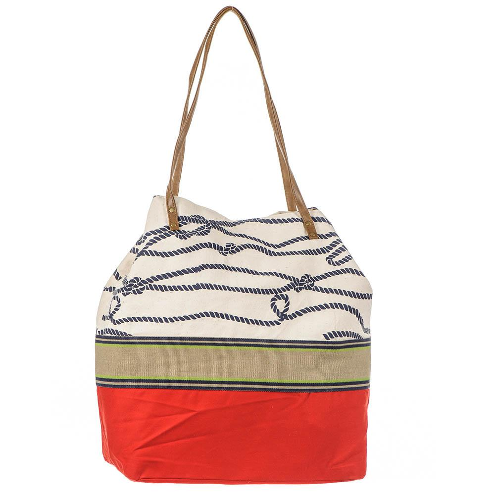 Nautical Red and Cream Beach Bag 6l3tc8