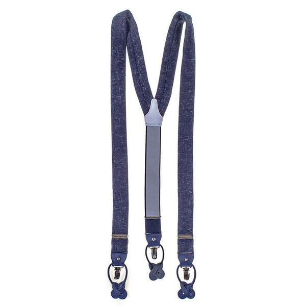 Navy Cashmere and Leather Braces