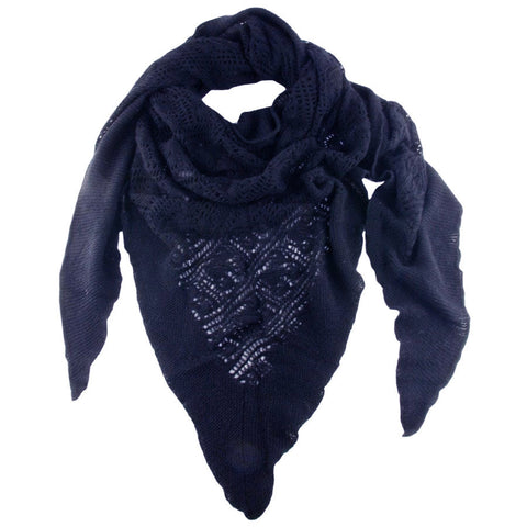 Midnight Navy Italian Lace Knit Triangular Cashmere Scarf