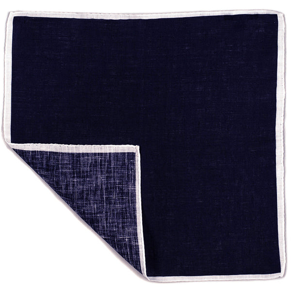 Navy and White Linen Pocket Square