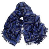Navy Multi Striped Cashmere Ring Shawl