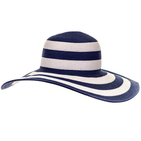 Navy and White Striped Wide Brimmed Sun Hat