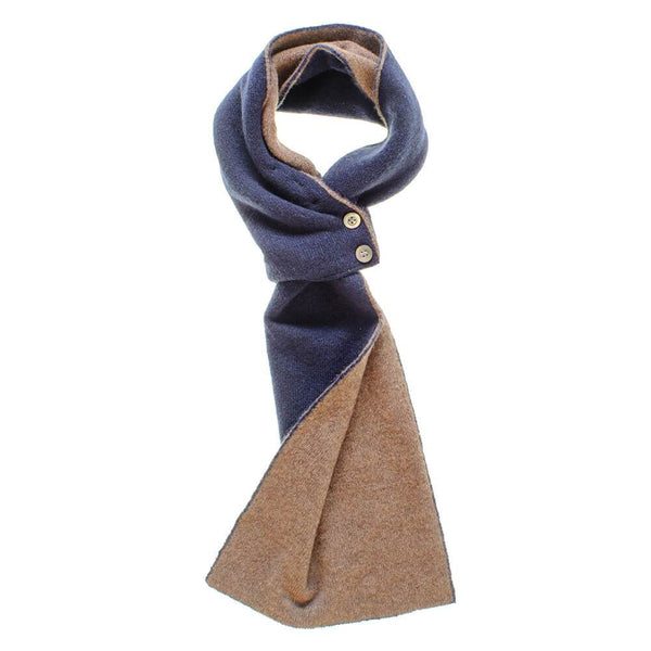Navy and Brown Cashmere Cravat Scarf