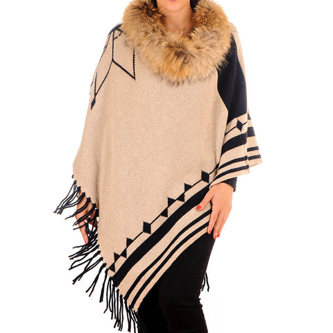 Double Sided Cashmere and Wool Fur Trimmed Poncho