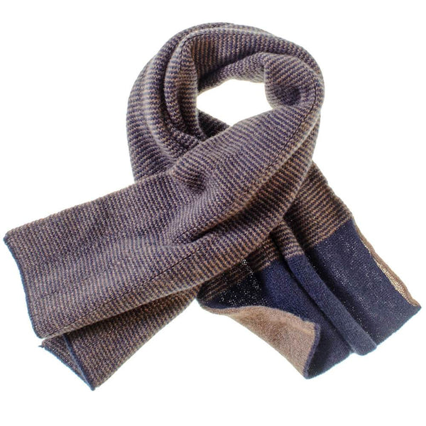 Navy and Brown Double Faced Cashmere Neck Warmer
