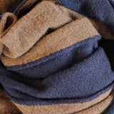 Brown and Navy Double Faced Cashmere Scarf