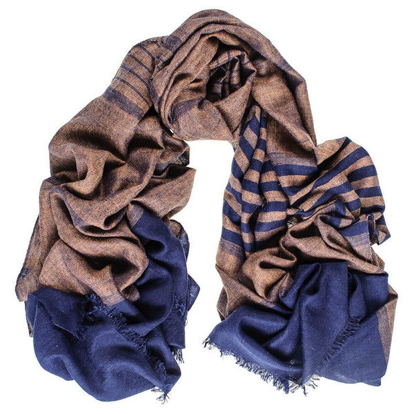 Navy and Brown Cashmere Ring Shawl