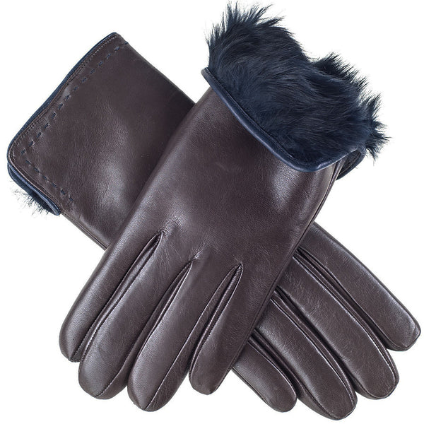 Chocolate Brown and Navy Rabbit Fur Lined Leather Gloves