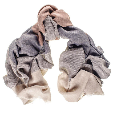 Berkeley Navy Russet and Taupe Merino Wool and Silk Scarf