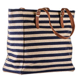Navy and Gold Striped Canvas Beach Bag