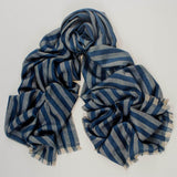 Navy and Natural  Oversized Striped Cashmere Scarf