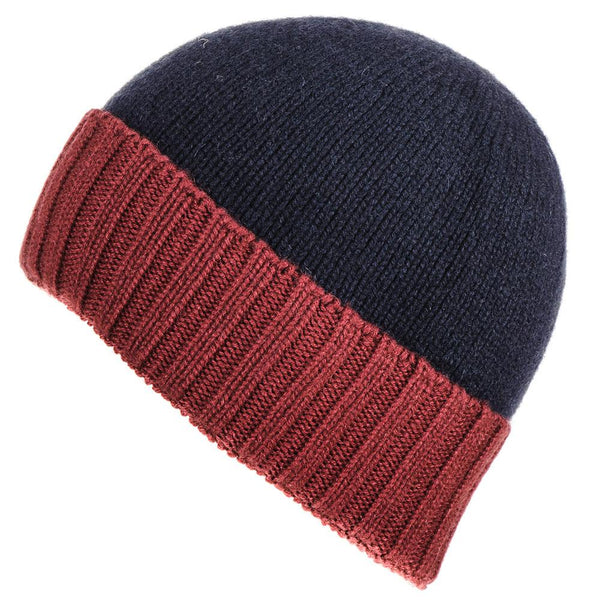 Navy and Burgundy Cashmere Beanie