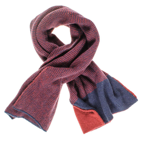 Navy and Burgundy Double Faced Cashmere Neck Warmer