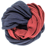 Navy and Burgundy Cashmere Snood