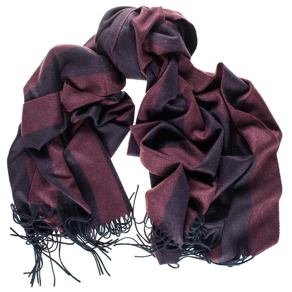 Oversize Burgundy and Navy Stripe Cashmere Blanket Scarf