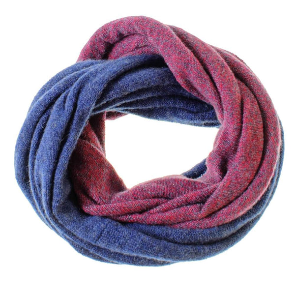 Burgundy and Blue Cashmere Snood