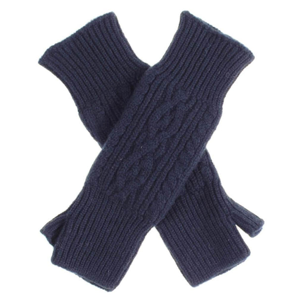 Long Navy Cable Cashmere Wrist Warmers