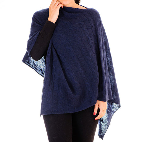 Navy Blue Cable Knit Cashmere Poncho