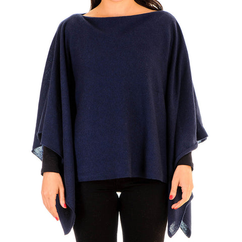 Navy Blue Batwing Cashmere Poncho